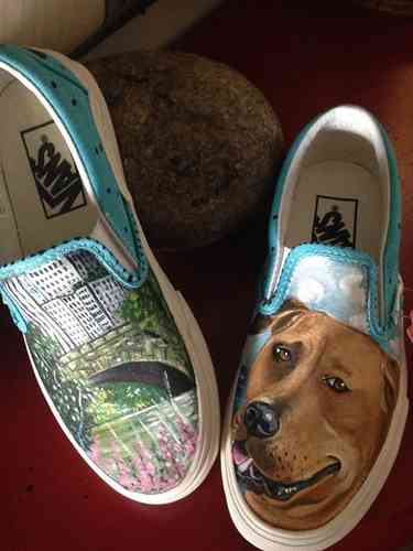 Custom Vans any size Dog pet portrait