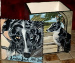 Square Ceramic Pet Dog Urn 4 sided urn all breeds