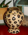 Medium Ceramic Pet Urn Leopard style all breeds
