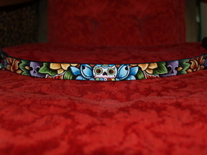 Day of the DEAD skull Leather Dog Collar (X-Small)