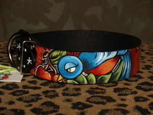 Tattoo Sparrow Cherry Black leather Collar LARGE