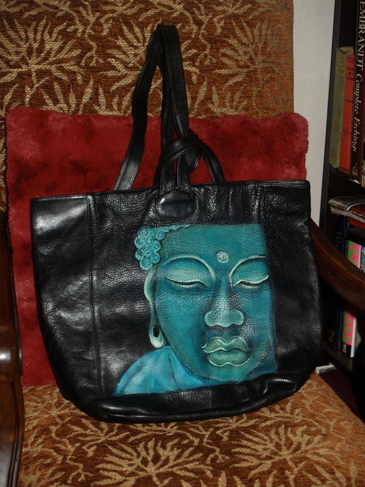 Custom Hand Painted Leather Buddha Handbag Purse