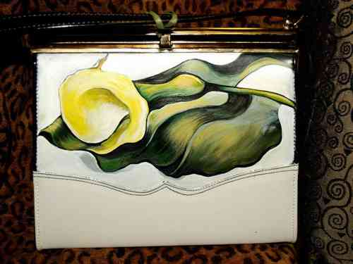 Custom vintage hand painted leather handbag purse Okeefe