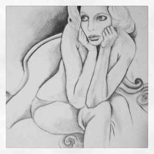 Original graphite drawing figurative 9x12