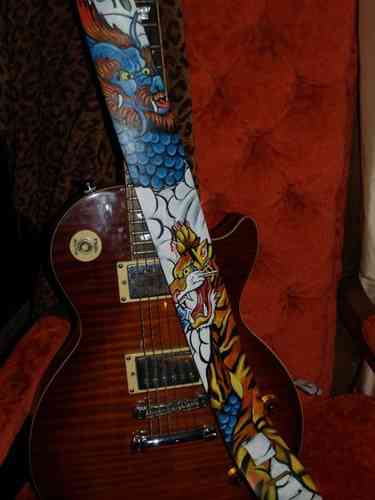 Hand painted Asian leather dragon and tiger guitar strap