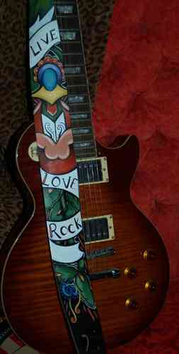 Hand painted leather live love rock tattoo guitar strap