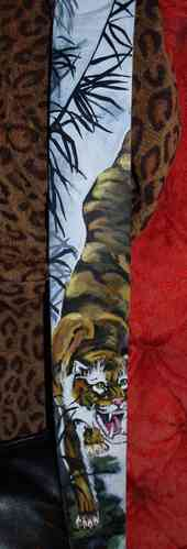 Hand painted leather Asian tiger clouds tattoo guitar strap