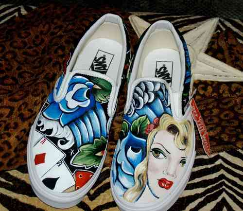 Custom Vans any size pin up girl rockabilly kicks