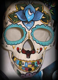 XL Hand painted Day of the Dead skull sculpture sparrows tattoo rose theme