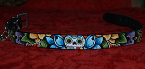 Day of the Dead SKULL leather Dog Collar (large)