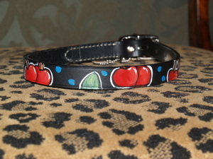 Cherries Leather Dog Collar (medium)