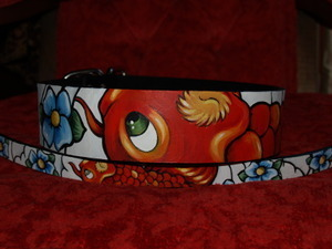 Tattoo Asian KOI Leather dog collar (Medium)