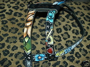 Leather tattoo harness Handpainted and Custom ( X-LRG)