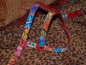 Red Painted leather tattoo harness Handpainted and Custom ANY SIZE Day of the Dead