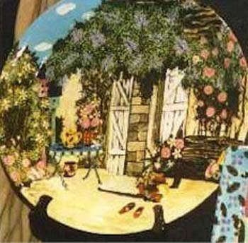 Room View / Garden hand painted pottery platter 18in