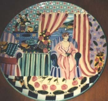 Impressionistic hand painted pottery platter/bowl 15in