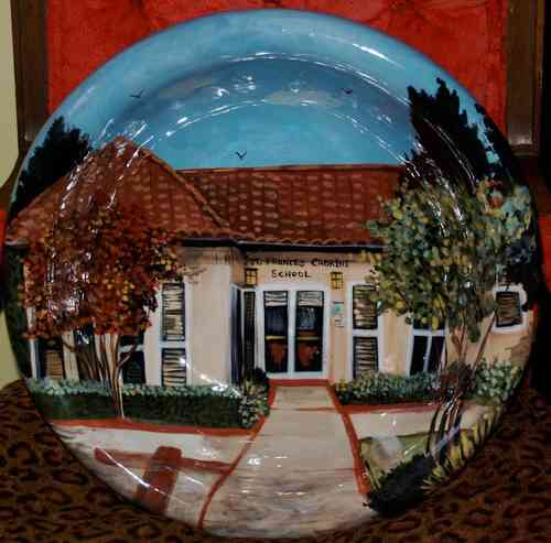 Custom architectural piece hand painted pottery platter/bowl 15in