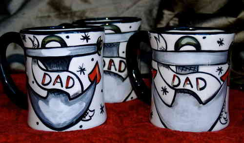 Tattoo nautical dad mugs hand painted pottery mug set of 6 cups