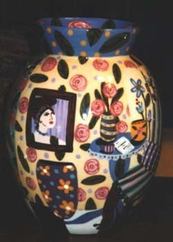 Room View hand painted pottery Vase 14 in